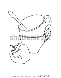 hand drawn still life with two empty cups tea spoon and apple ilration on a white background continuous line drawing ilration