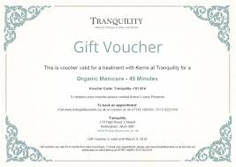 gift vouchers chilwell nottingham tranquility gift voucher example