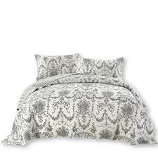 DaDa Bedding Collection Elegant Victorian Candelabra Quilt ... & QUILT - DaDa Bedding Victorian Candelabra Floral Damask Black & White  Elegance Quilted Coverlet Bedspread Set Adamdwight.com