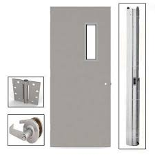 commercial steel entry doors. gray flush steel prehung commercial vision light unit with hardware entry doors e