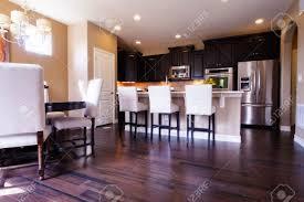 Modern Kitchen Dark Cabinets Modern Kitchen With Dark Wood Cabinets And Hardwood Floors Stock