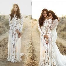 sheath bateau long sleeves bohemian lace wedding dress open back