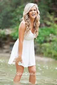 sleeveless v neck cheap short open back summer wedding dress
