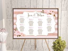 Custom Rose Gold Wedding Seating Chart Wd90