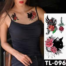 переводная вода черная кошка красная кружевная роза временная татуировка