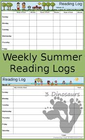 Reading Log Chart Free Weekly Summer Reading Charts 3 Dinosaurs