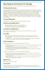 Key Skills Resume Mechanical Technician Sample Myperfect In For