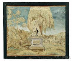 Sold Price: Framed Needlework Memorial to Susanna Smith, probably Rhode  Island, 1801, worked in silk threads on a fine linen ground, centering a wi  - Invalid date EDT