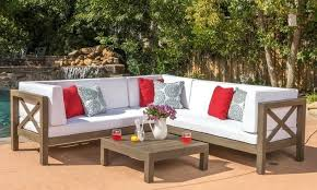 ohana outdoor furniture outdoor wooden sectional sofa and table set 4 piece ohana collection patio furniture