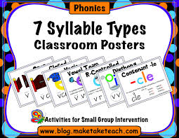 7 Syllable Types Classroom Posters Make Take Teach