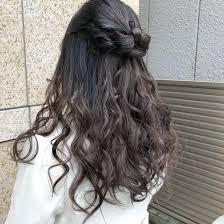 リボン ハーフアップ 巻き髪 簡単ヘアアレンジsaibu所属辻井隆太
