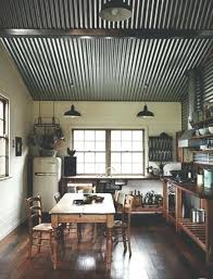 corrugated tin ceiling rustic pictures in kitchen installation