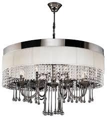 great modern black chandelier elisa modern black chrome white linen crystal chandelier