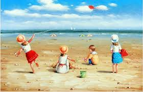 children girls boys sand beach pail ss fly kite 35 90 stretched oil painting in painting calligraphy from home garden on aliexpress com alibaba