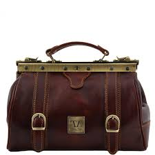 tuscany leather doctor bag gladstone cotton lining with straps made in italy
