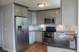 Gray Cabinet And Blue Pearl Granite Kitchen Makeover In 2019