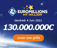 Ce vendredi 4 juin 2021, il y avait un jackpot exceptionnel de 130 millions d'euros à remporter grâce à euromillions. Fshy54axdqzr8m