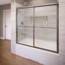 framed sliding tub door in