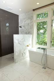 half wall marble shower