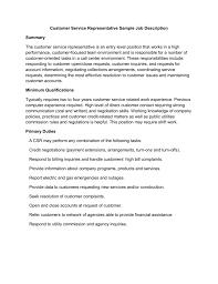 Qualifications For A Customer Service Representative Customer Service Representative Sample Job Description
