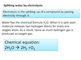 chemical equation 2h2o 2h2 o2 splitting water by electrolysis
