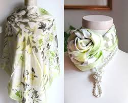 Ingles Floral Green White Scarf Elcorte Ingles Large Silk Scarf Floral Womens Foulard Vintage Scarf For Women Orchid Flower Headscarf