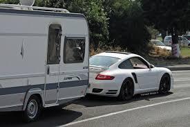 Porsche 911 Turbo Spotted Towing Caravan - GTspirit