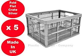 5 x 32 Litre <b>Foldable</b> Crate <b>Plastic Storage Box</b> Basket: Amazon.co ...