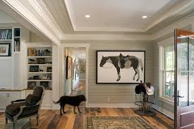 cool saddle stools in entry rustic with paint wood paneling next to shiplap alongside ship lap siding and edgecomb gray