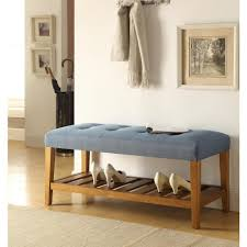 bedroom furniture benches. Charla Blue And Oak Storage Bench Bedroom Furniture Benches H