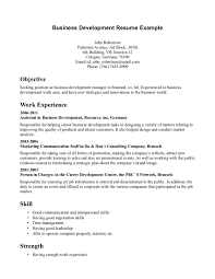 Resume Objective Business Development Resume For Study
