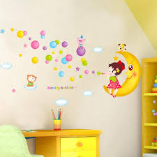 blowing bubbles the moon wall