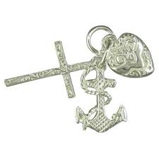 sterling silver large faith hope and charity charm
