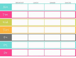 Breakfast Lunch And Dinner Chart Weekly Menu Planning Template Color Colorful Breakfast