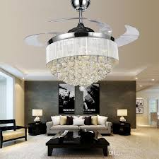 2018 modern chrome crystal led ceiling fans invisible blades with regard to amazing residence ceiling fan with chandelier light decor