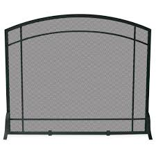 uniflame black wrought iron single panel fireplace screen with mission design