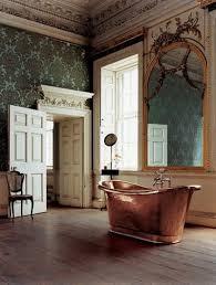 elegant bathroom with copper bathtub