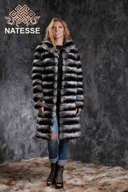 chinchilla fur coat black velvet
