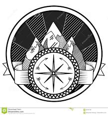 горы и вектор татуировки конспекта компаса иллюстрация вектора