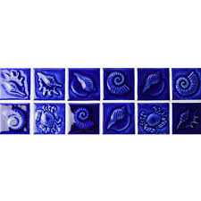 Seashell Design Dark Blue Seashell Design Bckb602 Border Tile Ceramic Border Tile