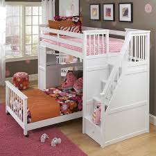 Bunk bed with stairs for girls Pretty Girl White Toddler Bunk Beds With Stairs And Colorful Bed Plus Red Rug Homesfeed Best Toddler Bunk Beds With Stairs Homesfeed