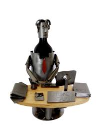 creative artistic business card holders attorney at law male at desk wine bottle holder