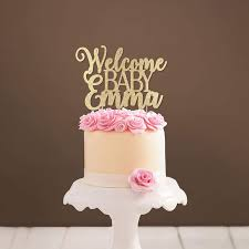 Amazoncom Custom Welcome Baby Cake Topper Glittery Baby Shower