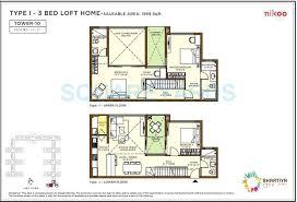bhartiya nikoo homes flagship 3 bhk 1959 sq ft floor plan
