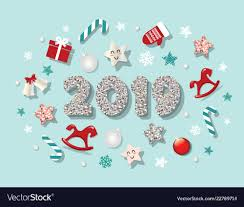Cute Template Happy New Year 2019 Template With Cute Decorative Vector Image