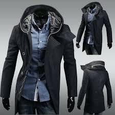 hooded pea coat mens big classic style slim woolen hoos high quality new men fashion hooded pea coat mens