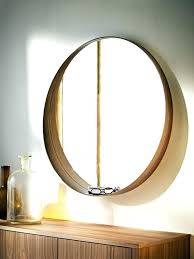 large wooden circle frame wood mirror round black framed reclaimed