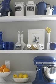 Attractive blue kitchen idea with large refrigerator and other electric  kitchen appliances white drawer built in