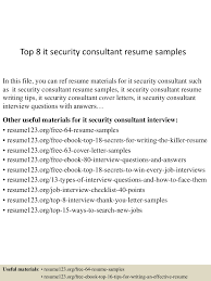 Sample Security Consultant Resume Top 8 It Security Consultant Resume Samples