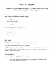 As Is Document For Car Sale Vehicle Sale Agreement Sample Template Word And Pdf